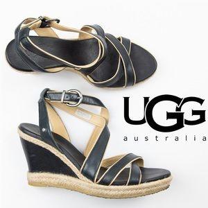 UGG Isabella Wedge 8.5 Black Tan Women's Shoes